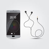 Vector smart phone with earphones Stock Photography