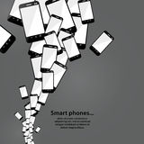 Vector smart phone flow. Modern technology. Heap of mobile phone Stock Photo