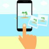 Vector smart phone sending photos. Smart phone sending photos  on white background. Vector illustration. Eps 10 Royalty Free Stock Images