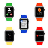 Vector smart watch with different UI icons. Royalty Free Stock Photography