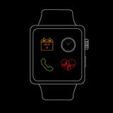 Vector : Smart watch with icon ,Line style Stock Photos