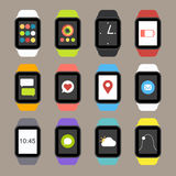 Vector Smart Watch Icons. In Flat Design style Royalty Free Stock Photo