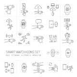 Vector smart watch linear icons set with hand gestures Royalty Free Stock Photography