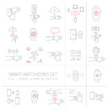 Vector smart watch linear icons set with hand gestures Royalty Free Stock Photos