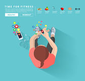 Vector smart watch and smart phone. Smart watch and smart phone, Fitness woman with applications icons flat design idea concept living healthy life, Vector royalty free illustration