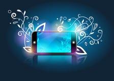 Vector smartphone&abstractbloemen Royalty-vrije Stock Foto