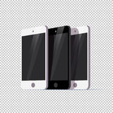 Vector smartphone collection isolated on transparent background. Royalty Free Stock Images