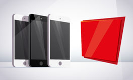 Vector smartphone collection with red backdrop isolated on white background. Gadget portable advertisement flat illustration. Good for web banner, poster Royalty Free Stock Photo