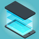 Vector smartphone device with applications icons and infographic elements in flat design. Stock Image