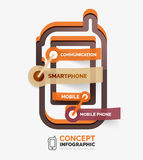 Vector smartphone icon infographic concept. Modern flat line art icon design with cloud tags on transparent stickers Stock Photography