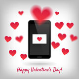 Vector smartphone with love message Stock Photography