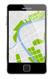 Vector smartphone with map Stock Photography