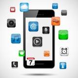 Smartphone mit dem Schwimmen von Apps Stockfoto