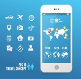 Vector smartphone with mobile map. Travel set Royalty Free Stock Photography
