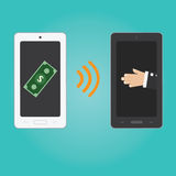 Vector of smartphone payment technology. Royalty Free Stock Photo