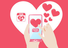Vector Smartphone send love heart in valentine`s Day. Vector Concept design send  heart  in Valentine`s Day Royalty Free Stock Images