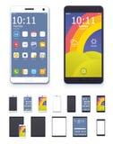 Vector smartphones e tablet pc genéricos com grupo do ícone da relação ilustração stock