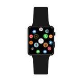 Vector smartwatch met pictogrammen Royalty-vrije Stock Afbeeldingen