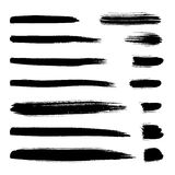 Vector smear set. Collection of black ink brush strokes. Vector grunge splatter stains isolated on white background. Artistic backdrop for logos, banners and Stock Photos