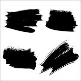 Vector smear set. Collection of black ink brush strokes. Vector grunge splatter stains isolated on white background. Artistic backdrop for logos, banners and Royalty Free Stock Images