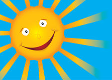 Vector smile sun on blue sky. Vector Sun with smile and rays Stock Photo