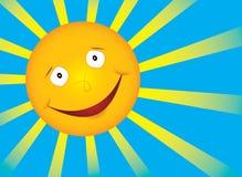 Vector smile sun on blue sky. Vector smile sun with rays Royalty Free Stock Photos