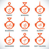 Vector Smiles Icons. With Orange Color Stock Photos