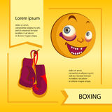 Vector smiley. A cute little creature. Expresses emotions. Boxing. He has expressive eyes, nose, mouth. The emoticon smileys or grimaces Royalty Free Stock Photos
