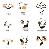 Vector smiley. A cute little creature. Expresses emotions. Set. He has expressive eyes, nose, mouth. The emoticon smileys or grimaces Royalty Free Stock Photos
