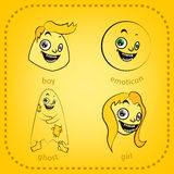 Vector smiley. A cute little creature. Expresses emotions. Set. He has expressive eyes, nose, mouth. The emoticon smileys or grimaces Stock Photos