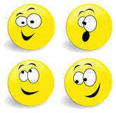 Vector smiley set of 4 faces Royalty Free Stock Images
