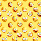 Vector smileys wallpaper continuous pattern with seamless facial expressions. Of yellow happy faces in yellow background. Vector illustration Stock Photography