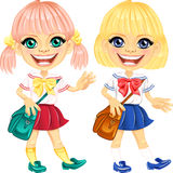 Vector smiling blonde cute schoolgirls Stock Images