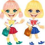 Vector smiling blonde cute schoolgirls stock images