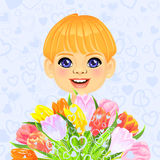 Vector Smiling boy with bouquet of flowers Stock Photography