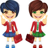 Vector smiling brunette cute schoolgirls. Smiling happy brunette girls in a red school jacket with a school bag Royalty Free Stock Images