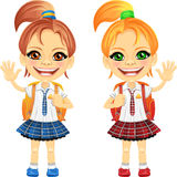 Vector smiling cute schoolgirls royalty free stock photography
