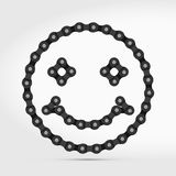 Vector Smiling Face Icon Made of Bike or Bicycle Chain. Happy Face Vector Symbol royalty free illustration