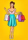 Vector smiling girl-shopper Royalty Free Stock Photo