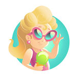 Vector smiling happy little girl portrait isolated. Baby store, girls shop insignia, logo. Children illustration. Little lady goods market logo. Blonde long Royalty Free Stock Photos