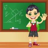 Vector smiling schoolboy near blackboard. Smiling happy boy in a school uniform with a school backpack near blackboard Stock Photo