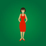 Vector smiling standing young woman in red dress. On green gradient background Royalty Free Stock Images