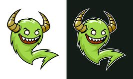 Cartoon troll with horns. Green laughing monster. royalty free illustration