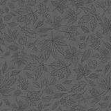 Vector smoky outline seamless background sketch autumn leaves. Autumnal pattern with herbal graphics. To design card in Stock Photography