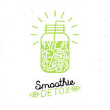 Vector smoothie detox poster in trendy linear flat style Stock Photography