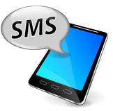 Vector sms on mobile phone. Vector illustration of mobile phone with sms speech bubble Royalty Free Stock Photos