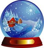 Vector sneeuwbol met een huis binnen Stock Afbeeldingen