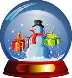 Vector sneeuwbol met een sneeuwman binnen Stock Afbeeldingen
