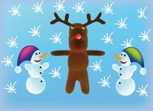 Vector sneeuwman en rendier Stock Fotografie