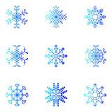 Vector sneeuwvlokken Kerstmis en Nieuwjaarontwerp Royalty-vrije Stock Afbeelding